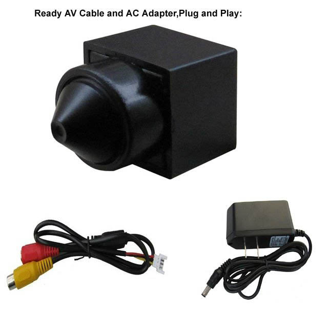Pinhole lens 90deg view 480TVL CMOS Mini CCTV Camera with Audio