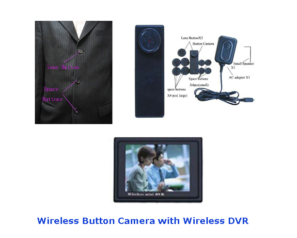 Wireless Spy Button Camera + Wireless DVR Receiver