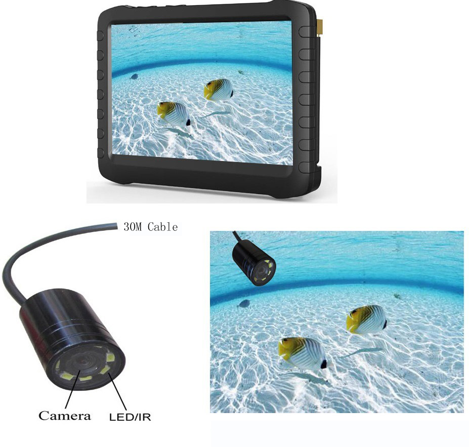 30M Cable Night Vision Mini Underwater Fish Finder Camera And 5inch DVR